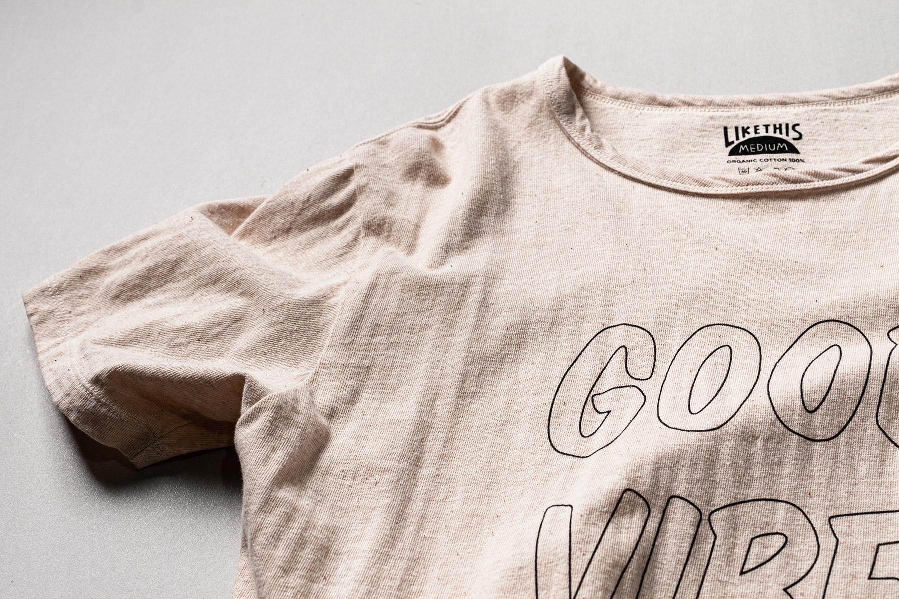 オーガニックコットン 吊り編み プリントTシャツ