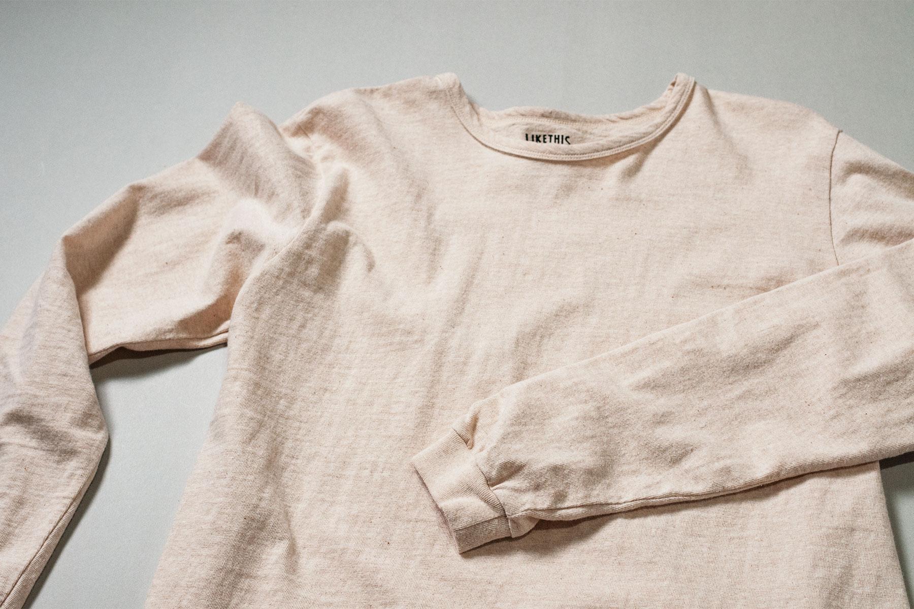 オーガニックコットン 吊り編み 長袖Tシャツ