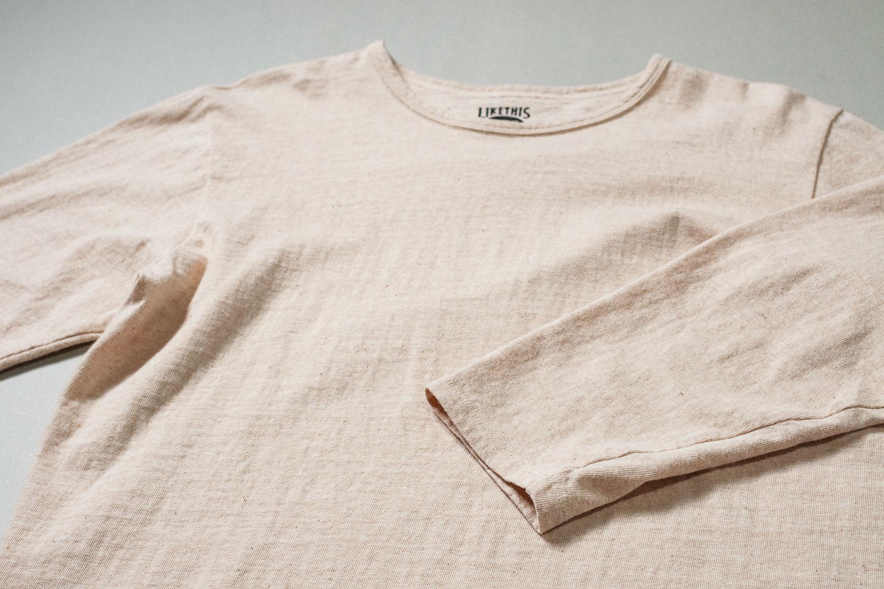 オーガニックコットン 吊り編み 八分袖シャツ