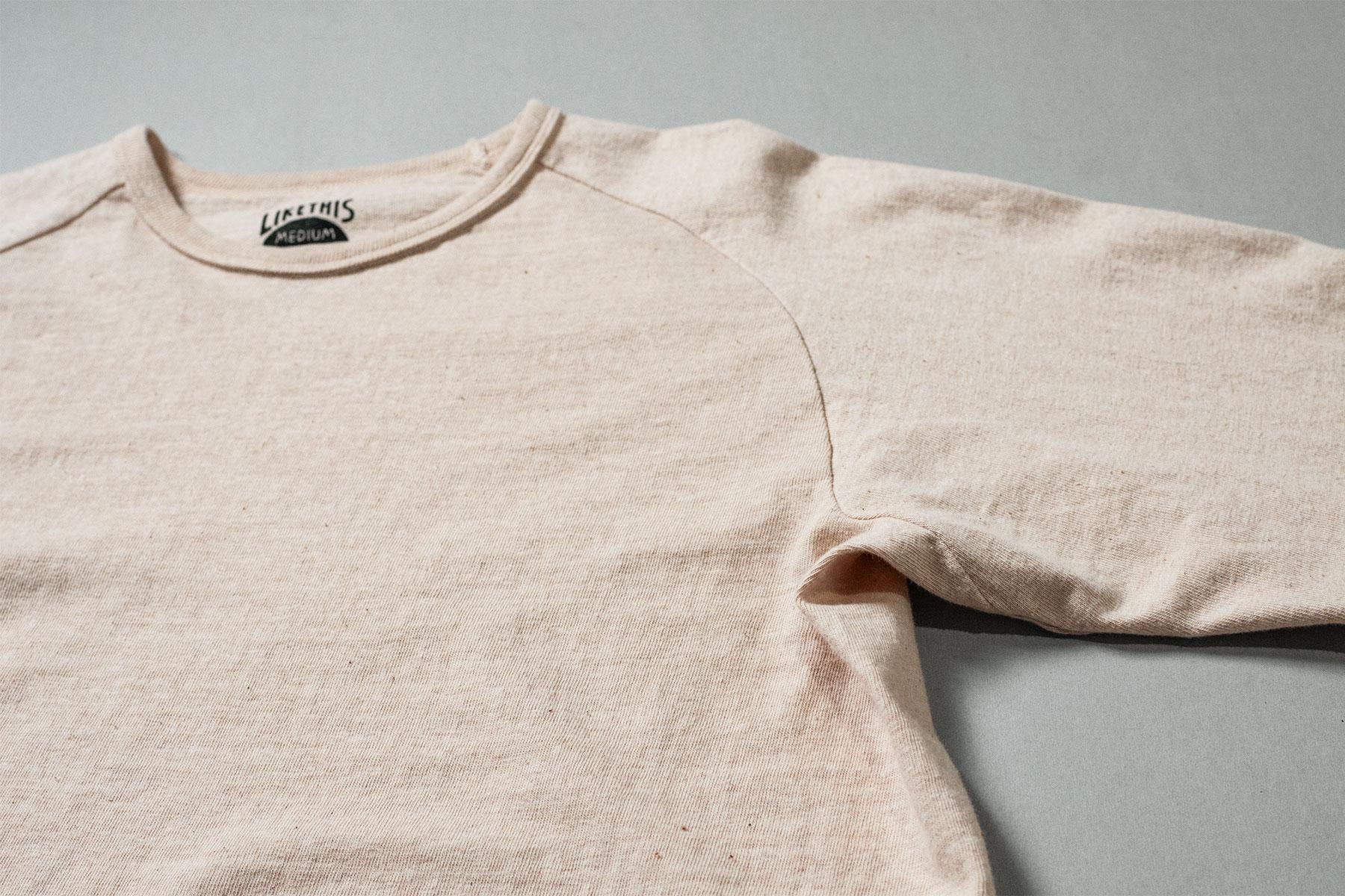 オーガニックコットン 吊り編み ラグランTシャツ