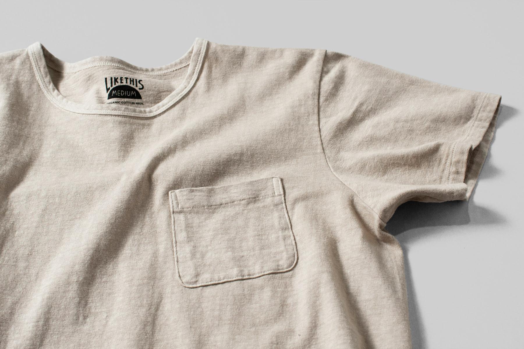 オーガニックコットン ボタニカルダイ クスノキ染め ポケットTシャツ