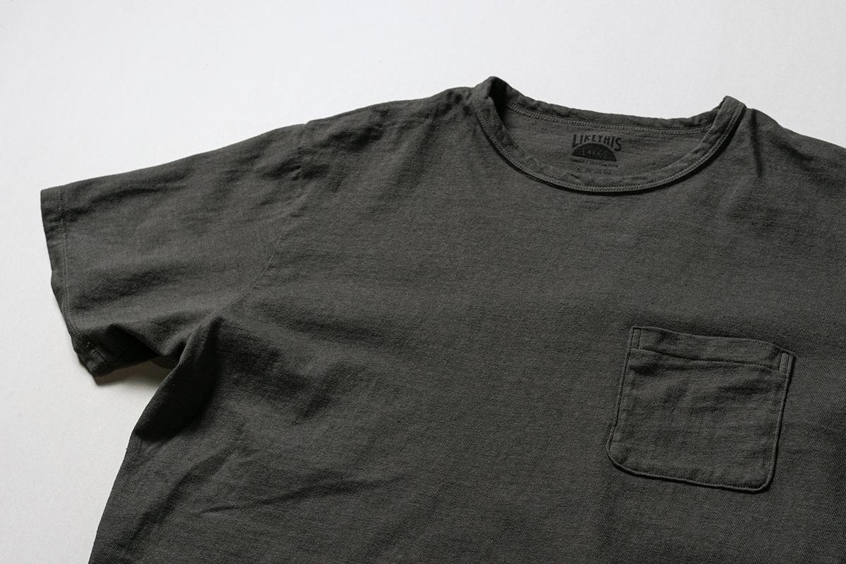 オーガニックコットン ボタニカルダイ 竹炭染め ポケットTシャツ