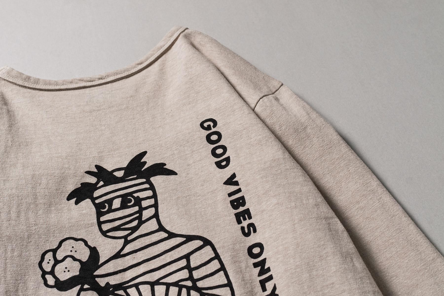 オーガニックコットン ロングスリーブ バックプリント Tシャツ